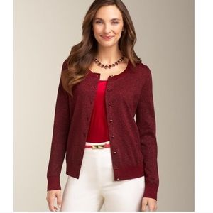 Wine Colored Cardigan Metallic Holiday Sweater